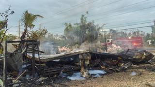 Mobile home destroyed in fire on Big Pine Key