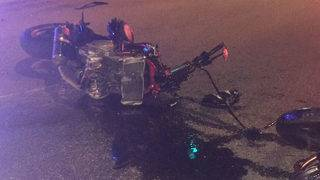 Helmet saves motorcyclist's life during crash, firefighters say