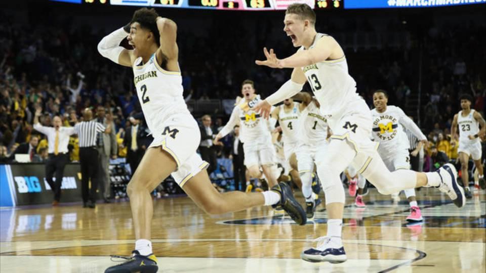 Michigan basketball vs Houston celebration Jordan Poole shot 2018