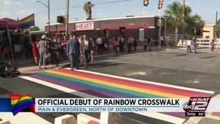 City leaders hold ribbon-cutting for rainbow crosswalk