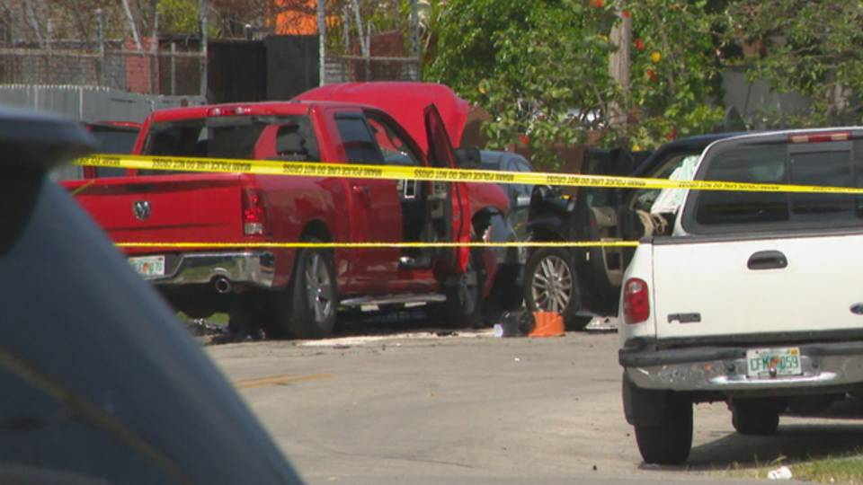 stolen pickup truck crash in Miami