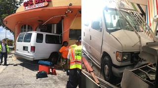 Video shows van full of children crashing into restaurant in North Miami