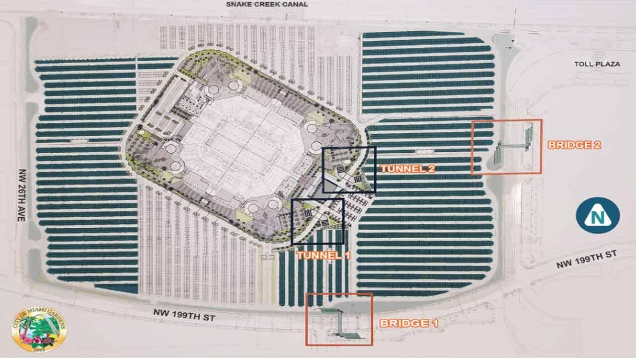 Map of Hard Rock Stadium construction of pedestrian bridges and tunnels