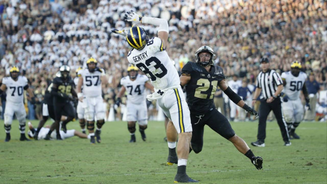 Zach Gentry leaping catch Michigan football vs Purdue