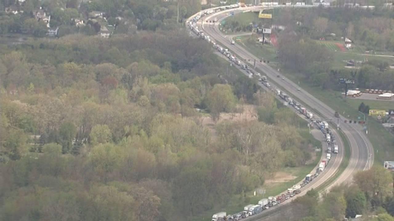 US 23 Northfield Township semi truck crash traffic backup