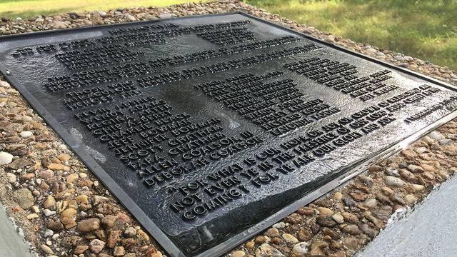 memorial plaque in comfort