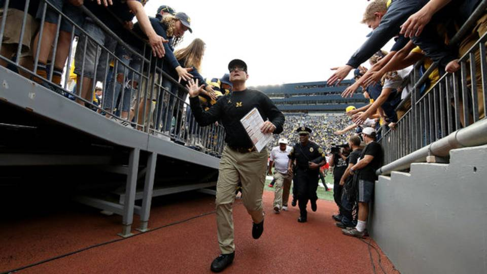 Jim Harbaugh tunnel Michigan football vs Maryland 2018