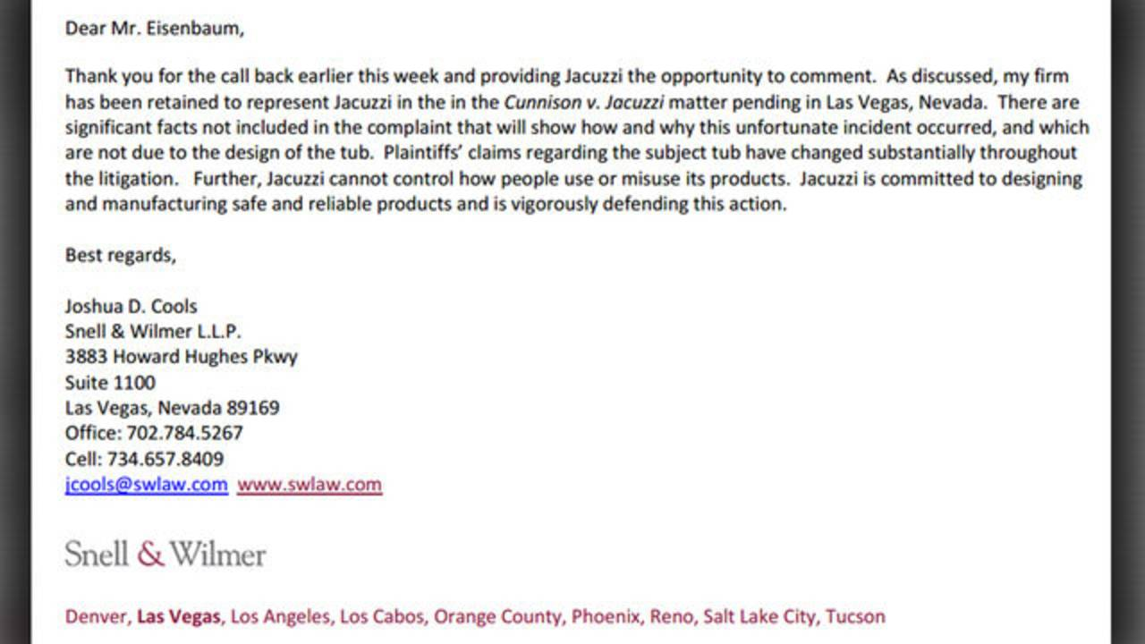 statement from jacuzzi