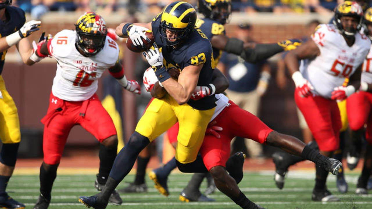Zach Gentry carries tackler Michigan football vs Maryland 2018