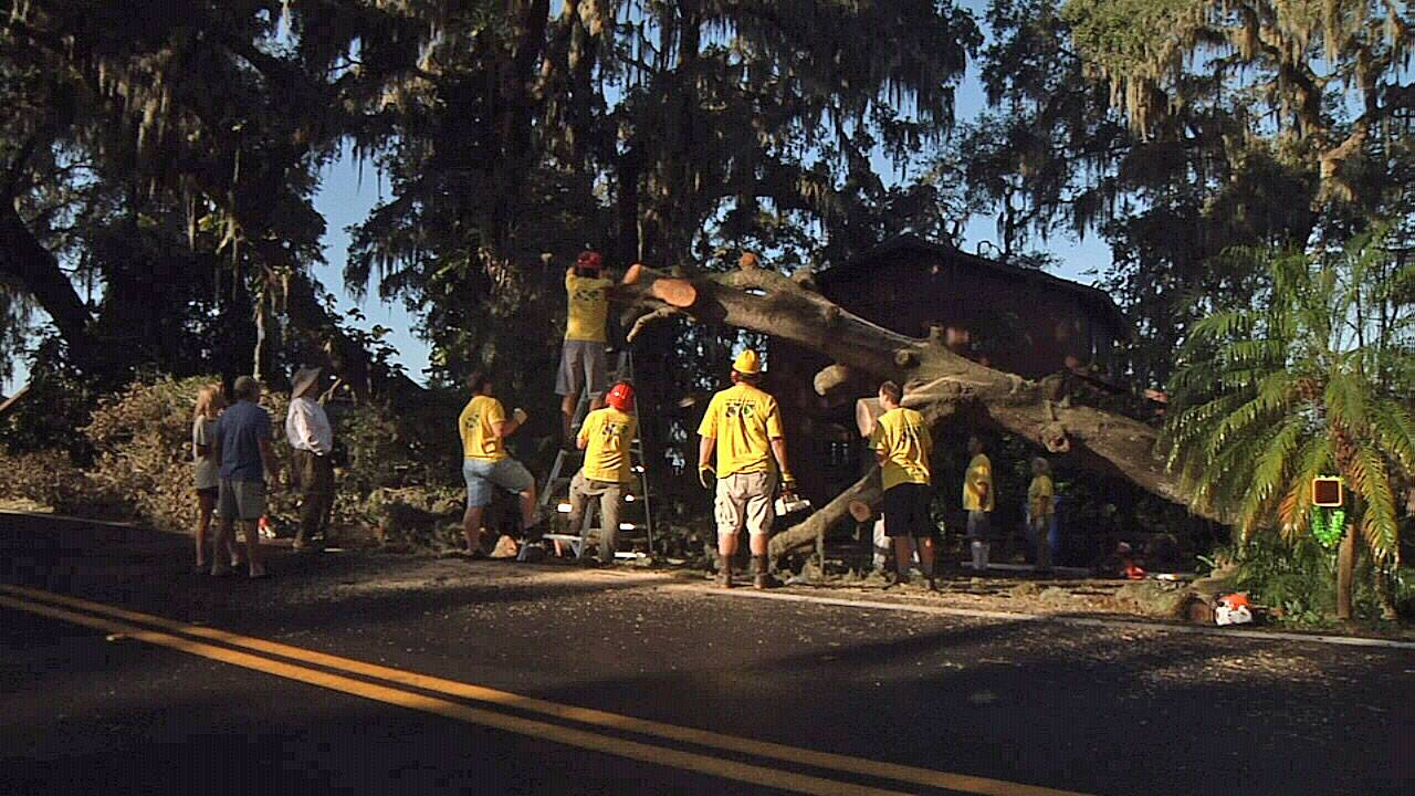 Red Cross Volunteer cleanup