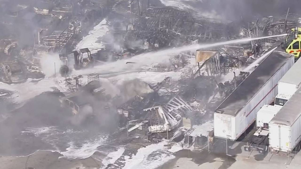 Tractor-trailer fire charred remnants