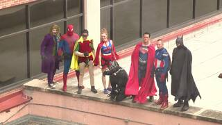 Pediatric hospital patients celebrate Halloween with superheroes
