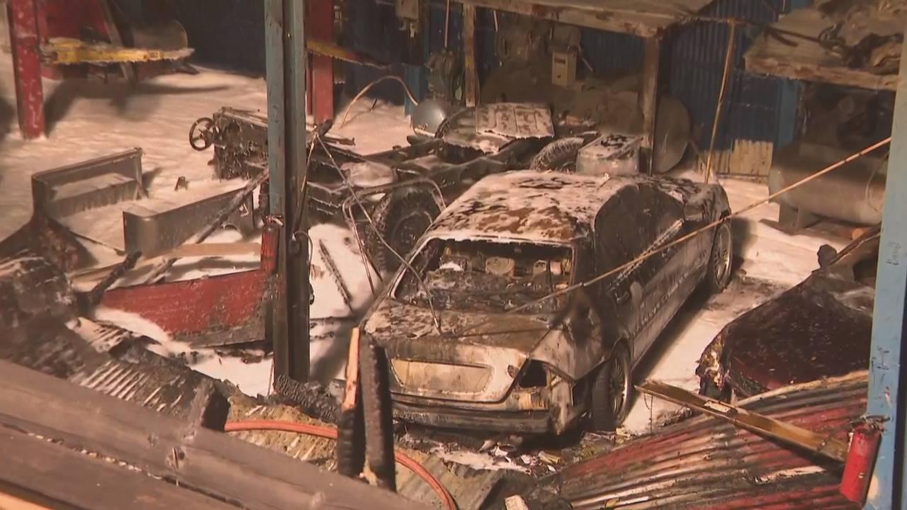 Cars scorched at Miami auto shop