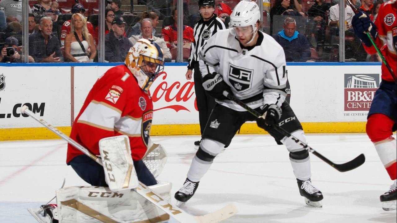 Florida Panthers goalie Roberto Luongo stops Los Angeles Kings right wing Brendan Leipsic