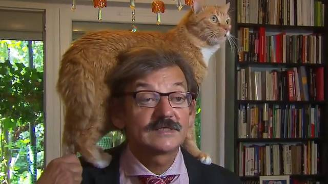 Historian Gives TV Interview With His Cat