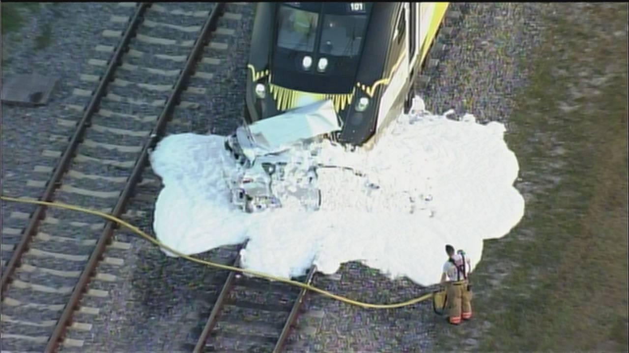 Sky 10 foam covers car hit by Brightline train