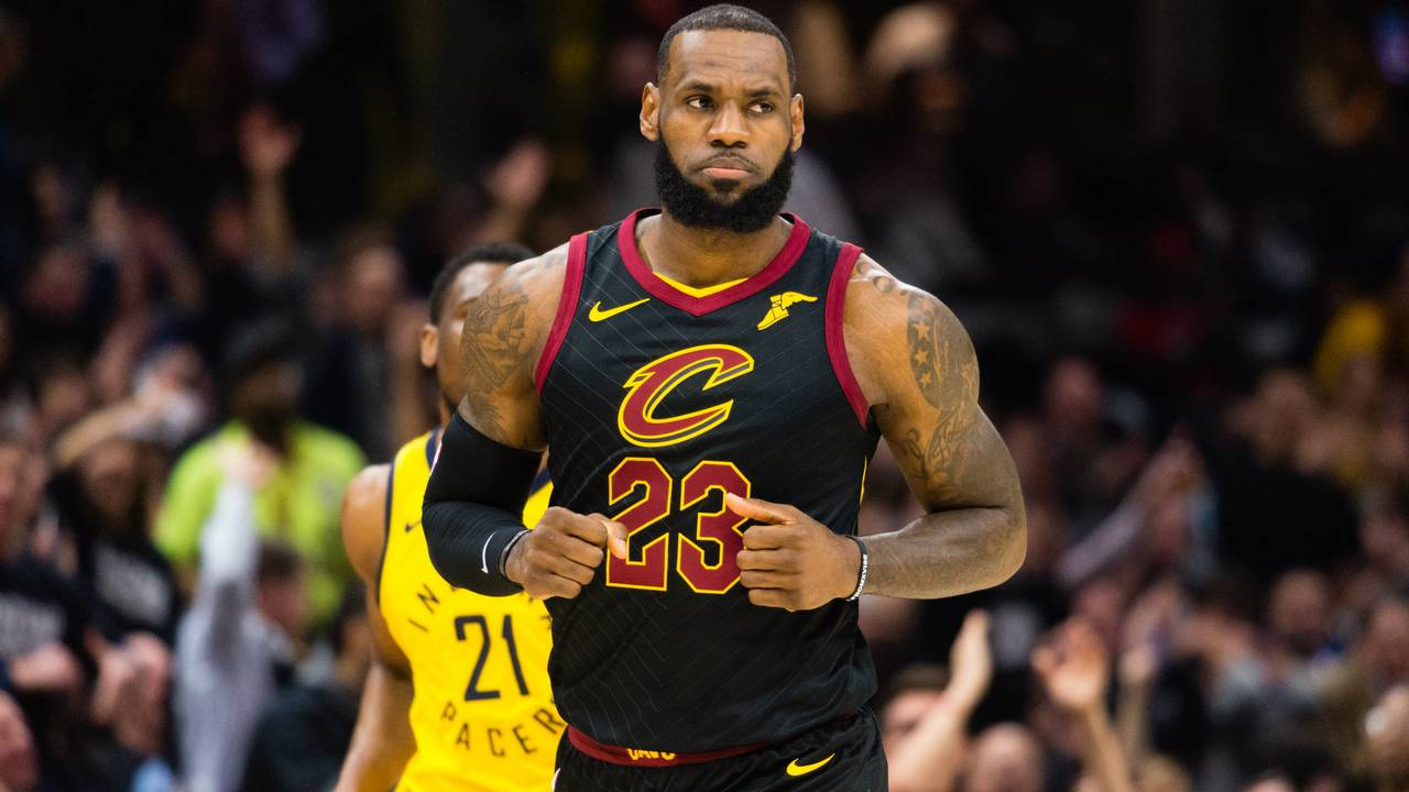 d7a119fc2698 LeBron James runs back on defense after scoring against the Indiana Pacers  during Game 2 of the first round of the Eastern Conference playoffs at  Quicken ...