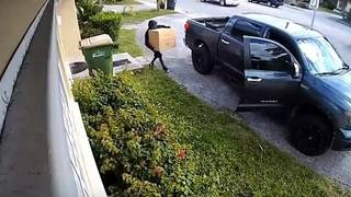 Man caught on video stealing package from outside North Miami home