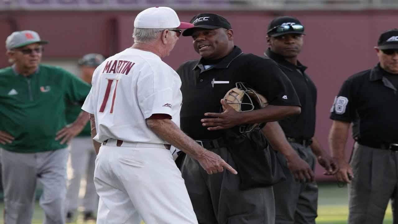 Florida State baseball coach Mike Martin argues call vs Miami Hurricanes in 2018 while Jim Morris looks on