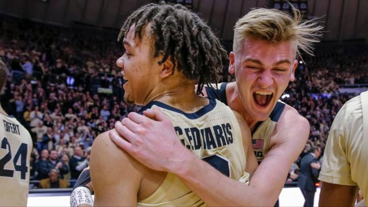 Carsen Edwards and Matt Haarms Purdue basketball vs MSU 2019