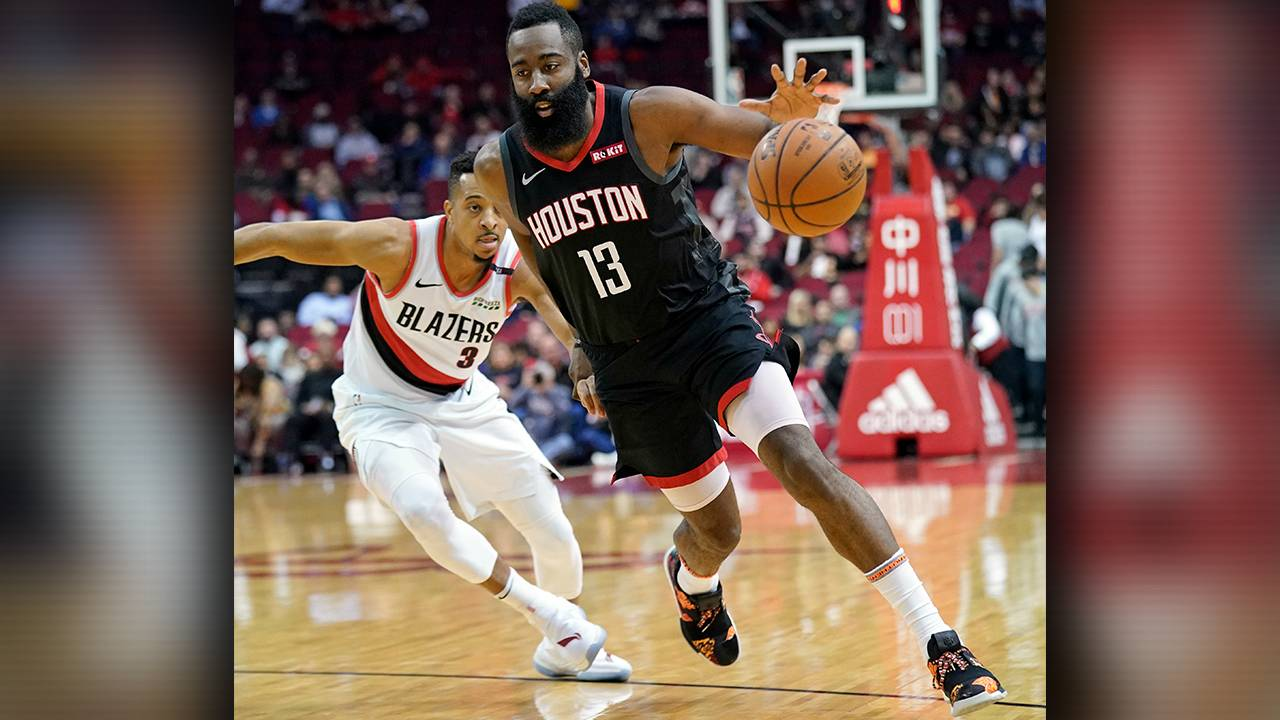 7fed3d56a7f4 James Harden scores 29 to lead Rockets past Blazers 111-104