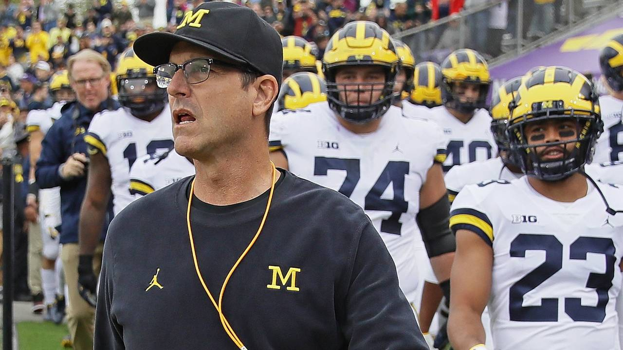 Jim Harbaugh Michigan football vs Northwestern 2018