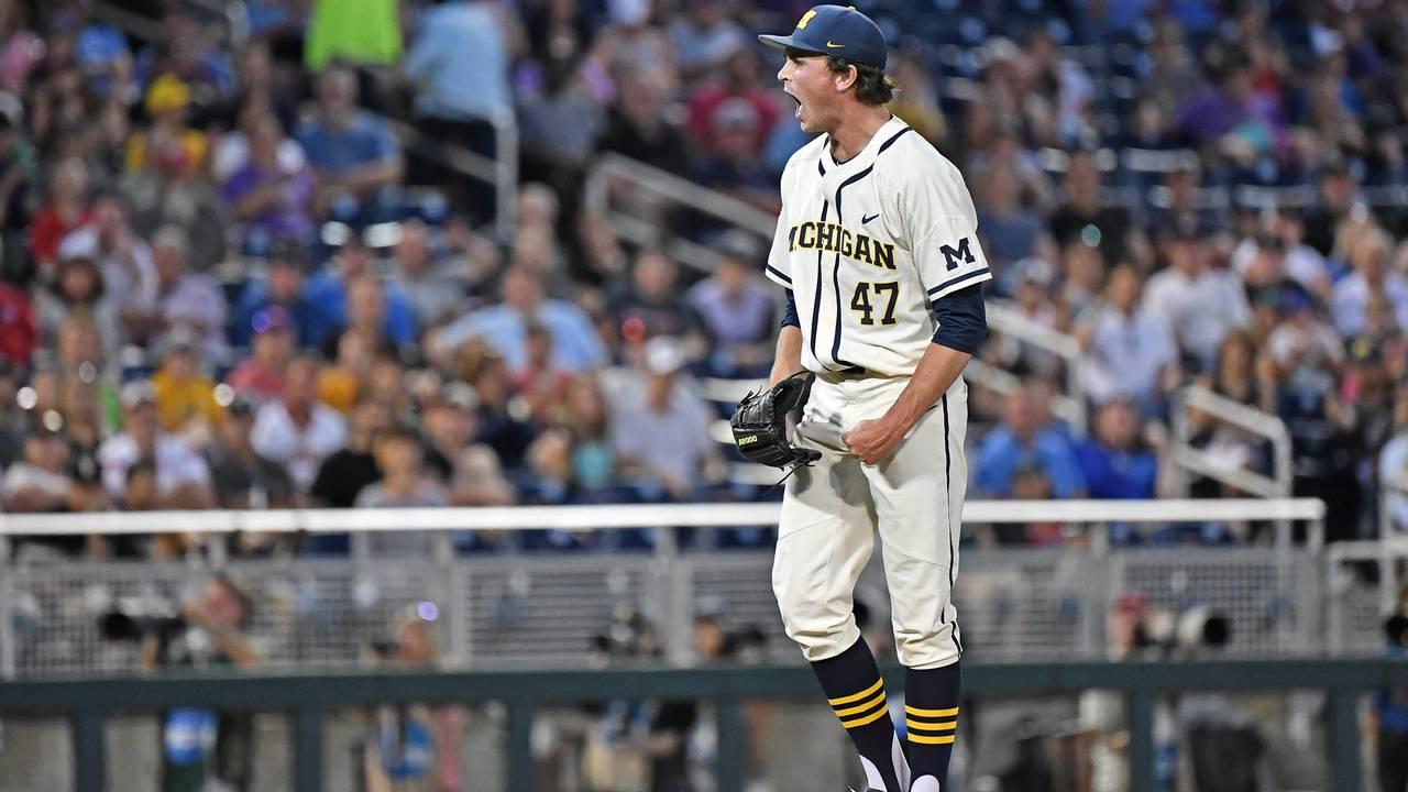 Tommy Henry Michigan baseball vs Vanderbilt College World Series CWS