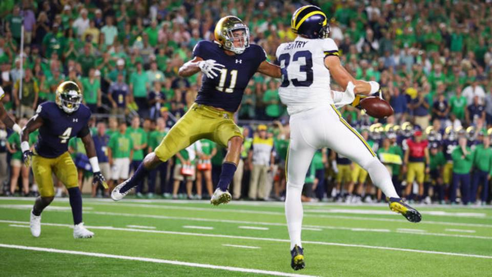 Zach Gentry dropped pass Michigan football vs Notre Dame 2018