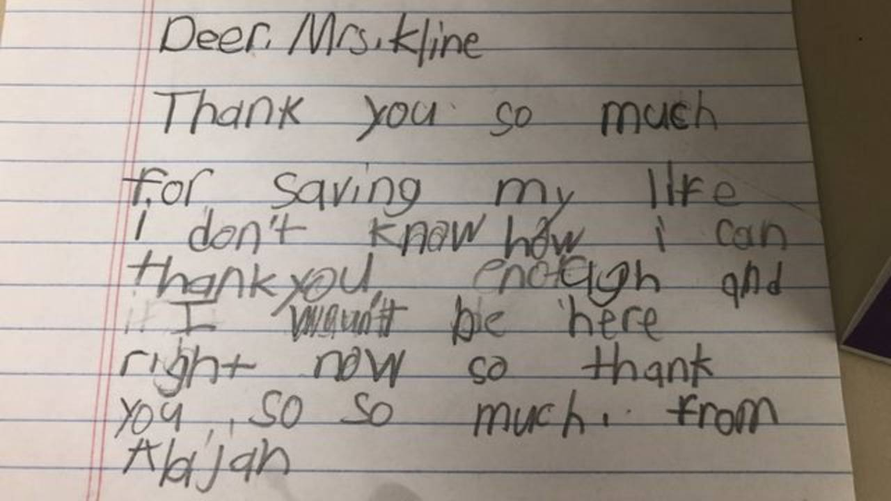 Kline note from student