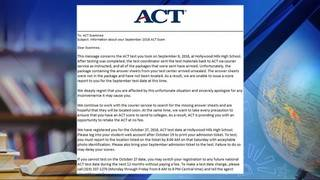 ACT answer sheets from Hollywood Hills High School get lost in mail