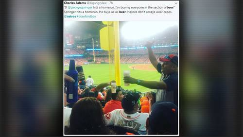 Fan makes good on promise, buys 2 rounds of beer for section after Astros homers