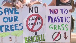 Miami neighbors seeing red after city installs plastic grass