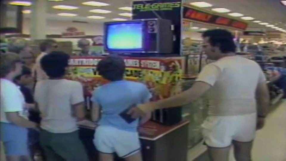 Children playing Atari video game on display in Sears at Hollywood Mall where Adam Walsh disappeared
