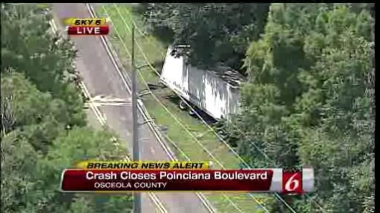 2 semi-trucks crash, spill fuel on kissimmee roadway