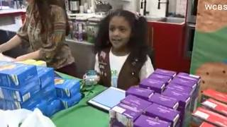Homeless Girl Scouts selling cookies