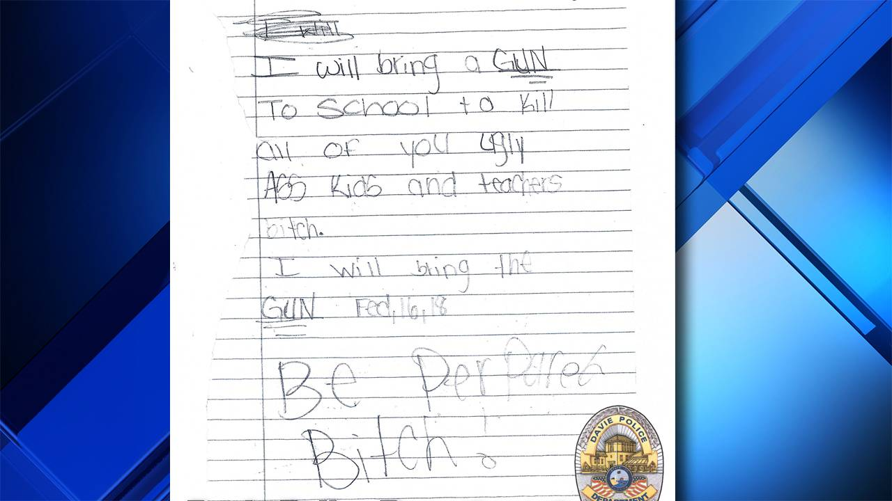 A Sixth Grade Student At Nova Middle School In Davie Was Arrested Thursday For Writing Note Threatening To Shoot Up The Authorities Said