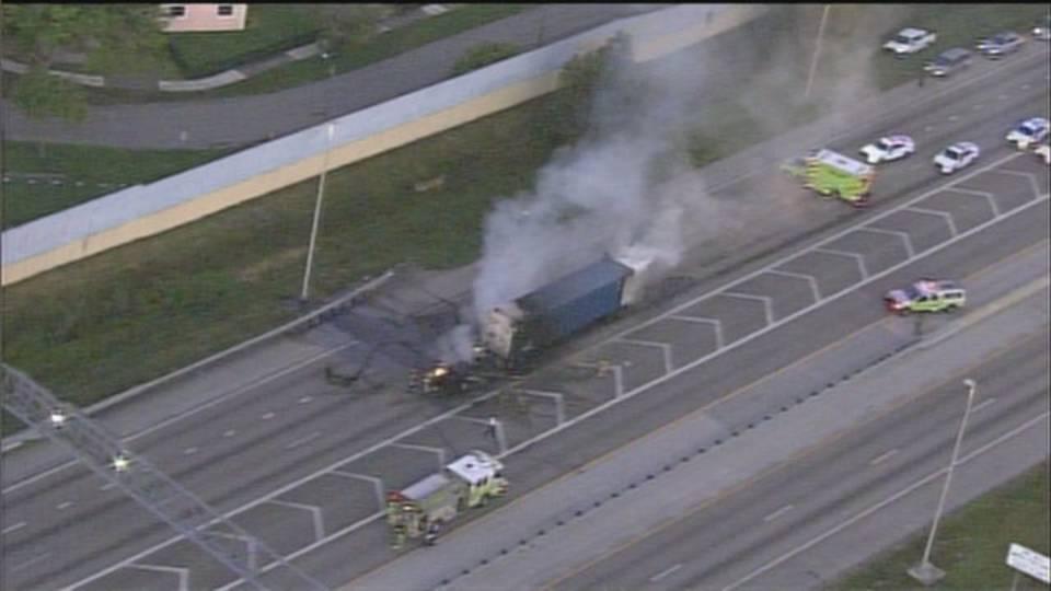 Traffic at standstill after tractor-trailer fire at Golden Glades Interchange
