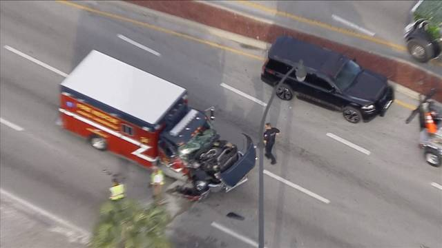 Sky 10 over crash involving North Lauderdale firetruck