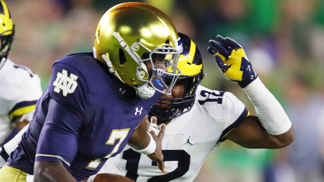 Josh Ross tackle Michigan football vs Notre Dame 2018