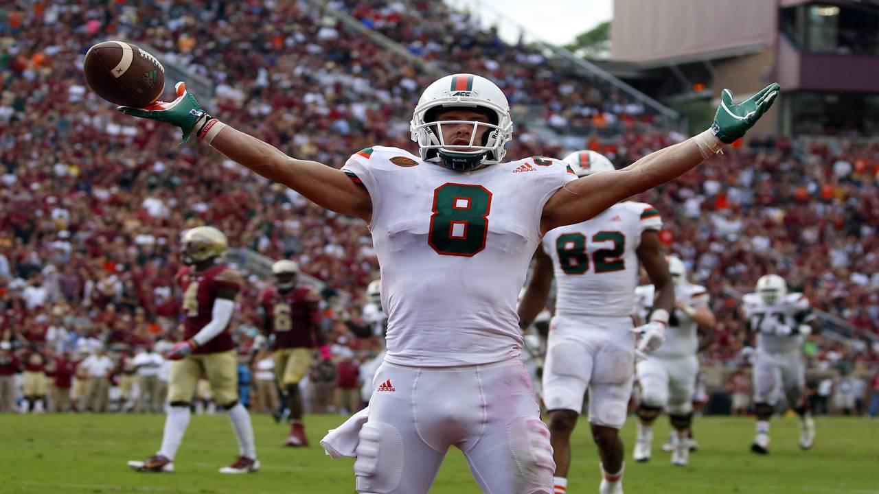 Miami Hurricanes WR Braxton Berrios celebrates TD at Florida State 2017
