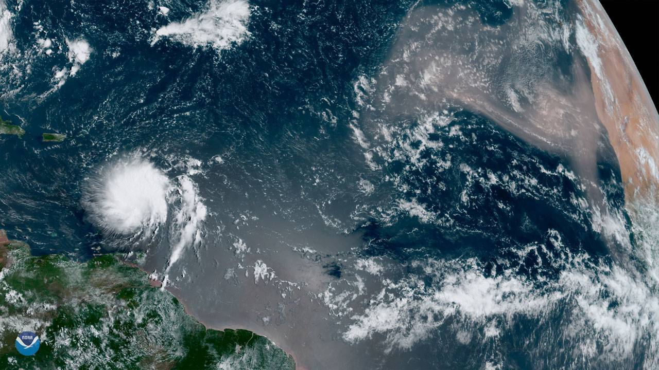 Goes East Tropical Storm Dorian and Saharan dust