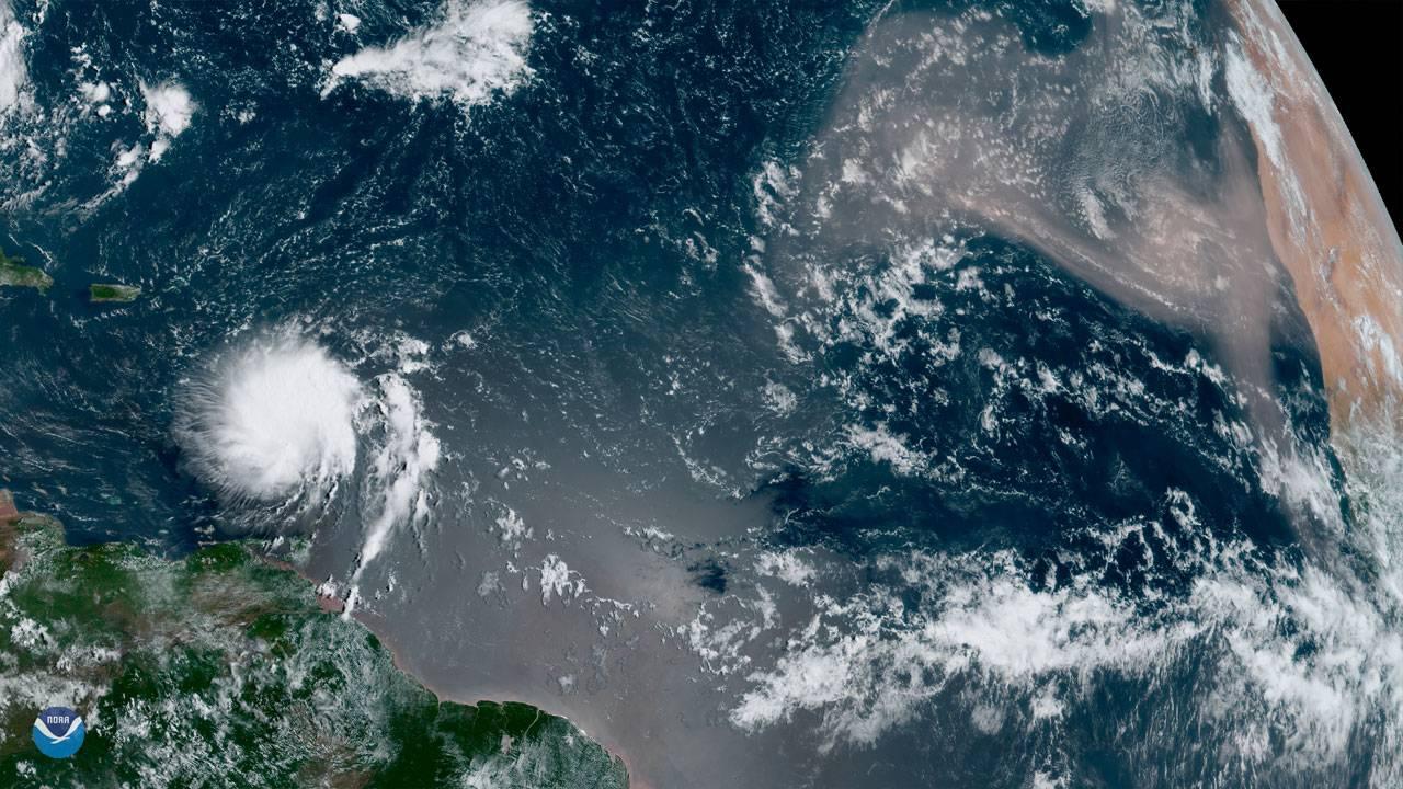 Goes East Tropical Storm Dorian and Saharan dust