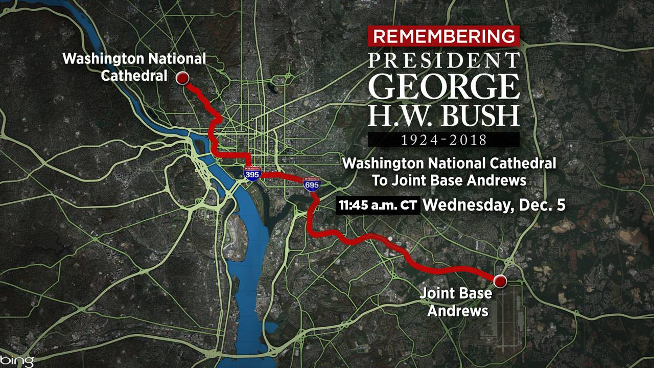 USE THIS! Cathedral to Joint Base Andrews motorcade map 12-4-18