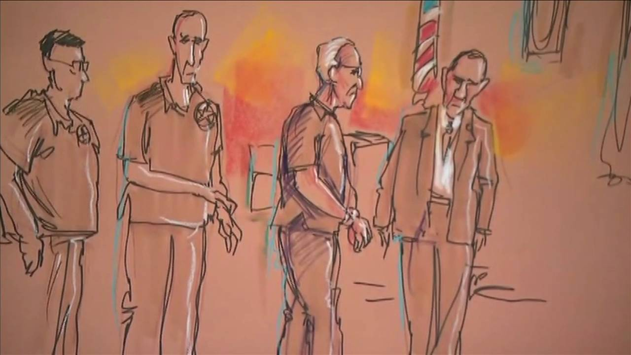 Artist illustration of Roger Stone in court