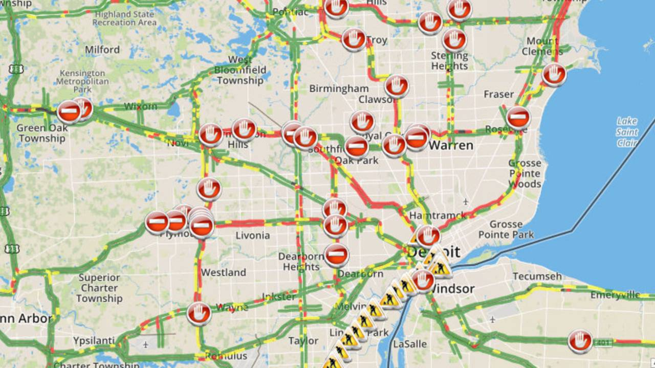 Metro Detroit Traffic Map.Metro Detroit Traffic Conditions Check Map Closures