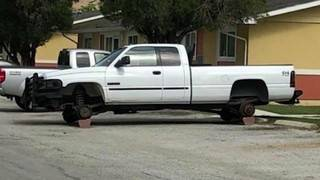 Firefighter finds his stolen truck completely stripped of wheels, left on blocks