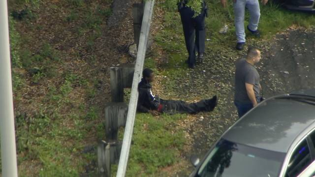 Hollywood chase suspect on ground after capture