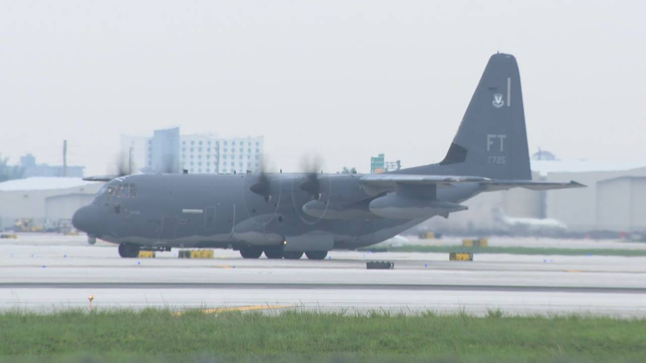 C-130 military aircraft that carried injured bus crash tourists