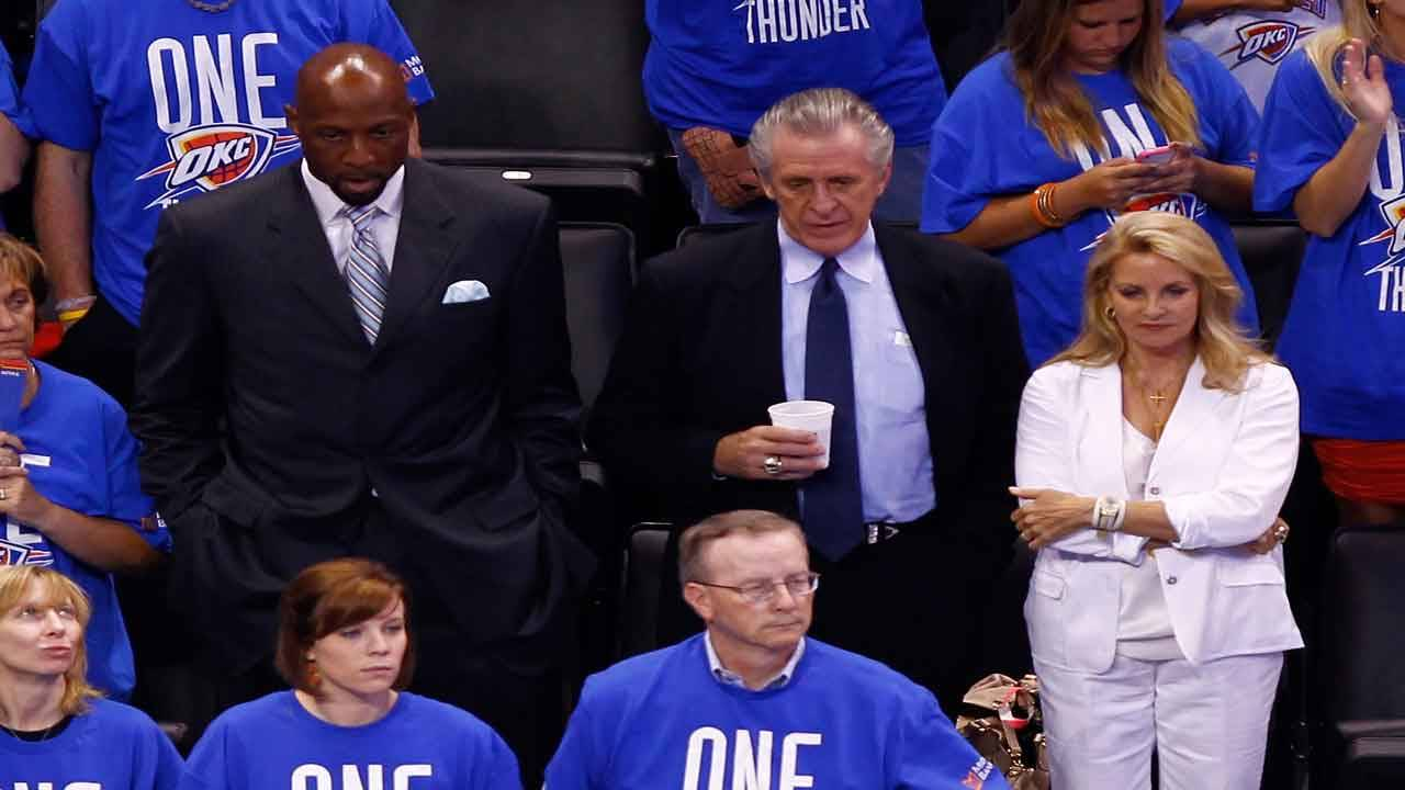 Alonzo Mourning and Pat Riley watch 2012 NBA Finals