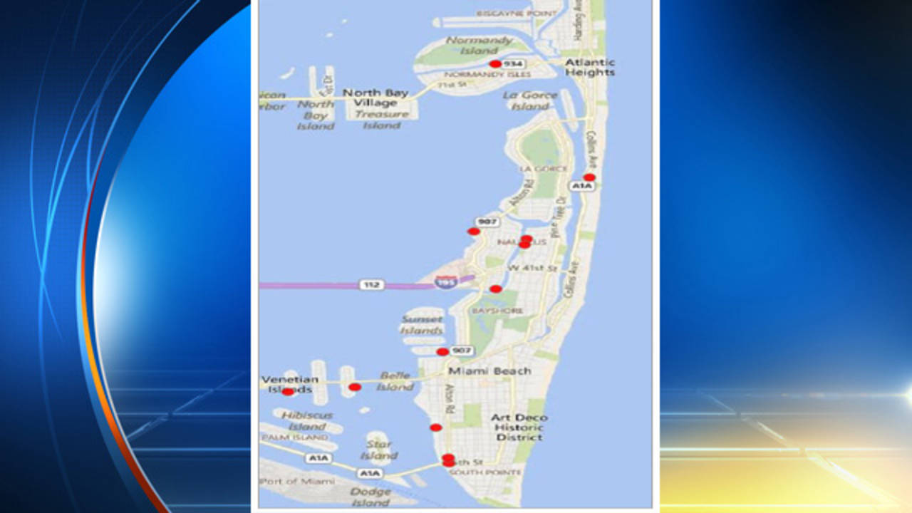 Map of where personal watercraft were stolen in Miami Beach